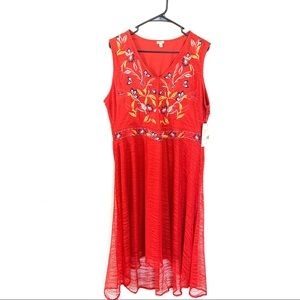 Reba Sleeveless Midi Embroidered Red Dress XL